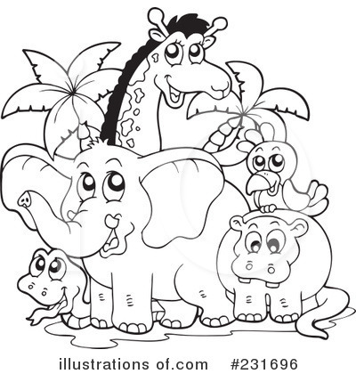Zoo clipart black and white Animals black animals and –