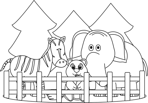 Zoo clipart black and white Zoo Art and Black White