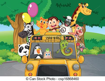 Zoo clipart bus Zoo Clip animals with Vector