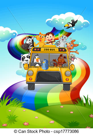 Zoo clipart bus A rainbow travelling bus csp17773086