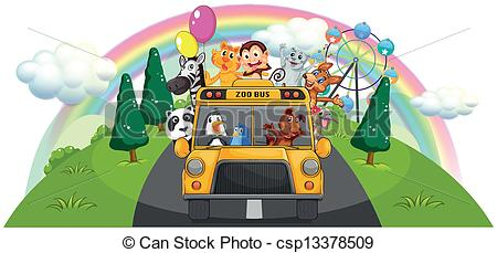 Zoo clipart bus A road bus zoo Vector