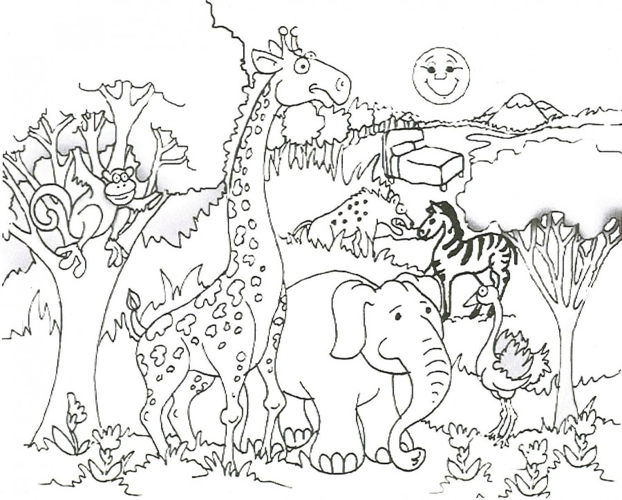 Zoo clipart coloring page Coloring Cool Pages printable Animals