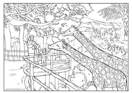 Zoo clipart coloring page The Father's Colouring Zoo Pages