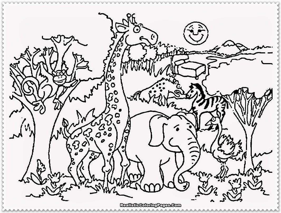 Zoo clipart coloring page Zoo Animals Realistic Pages Animal