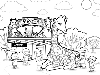 Zoo clipart coloring page Zoo animal coloring White Black