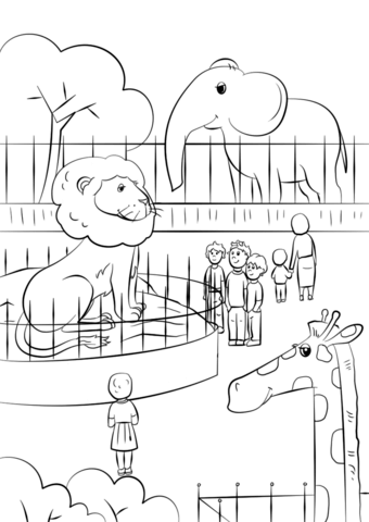 Zoo clipart coloring page Pages version Animals see coloring