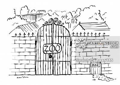 Zoo clipart door Habitat Ooz funny gate CartoonStock
