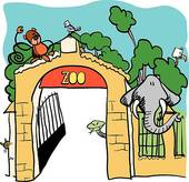 Zoo clipart entrance sign Vector illustration · Vector GoGraph