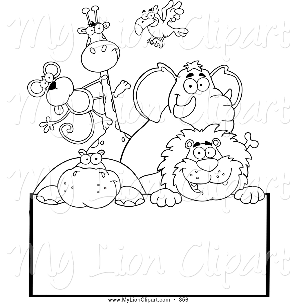 Zoo clipart entrance sign Coloring Lion a Outlined Animals