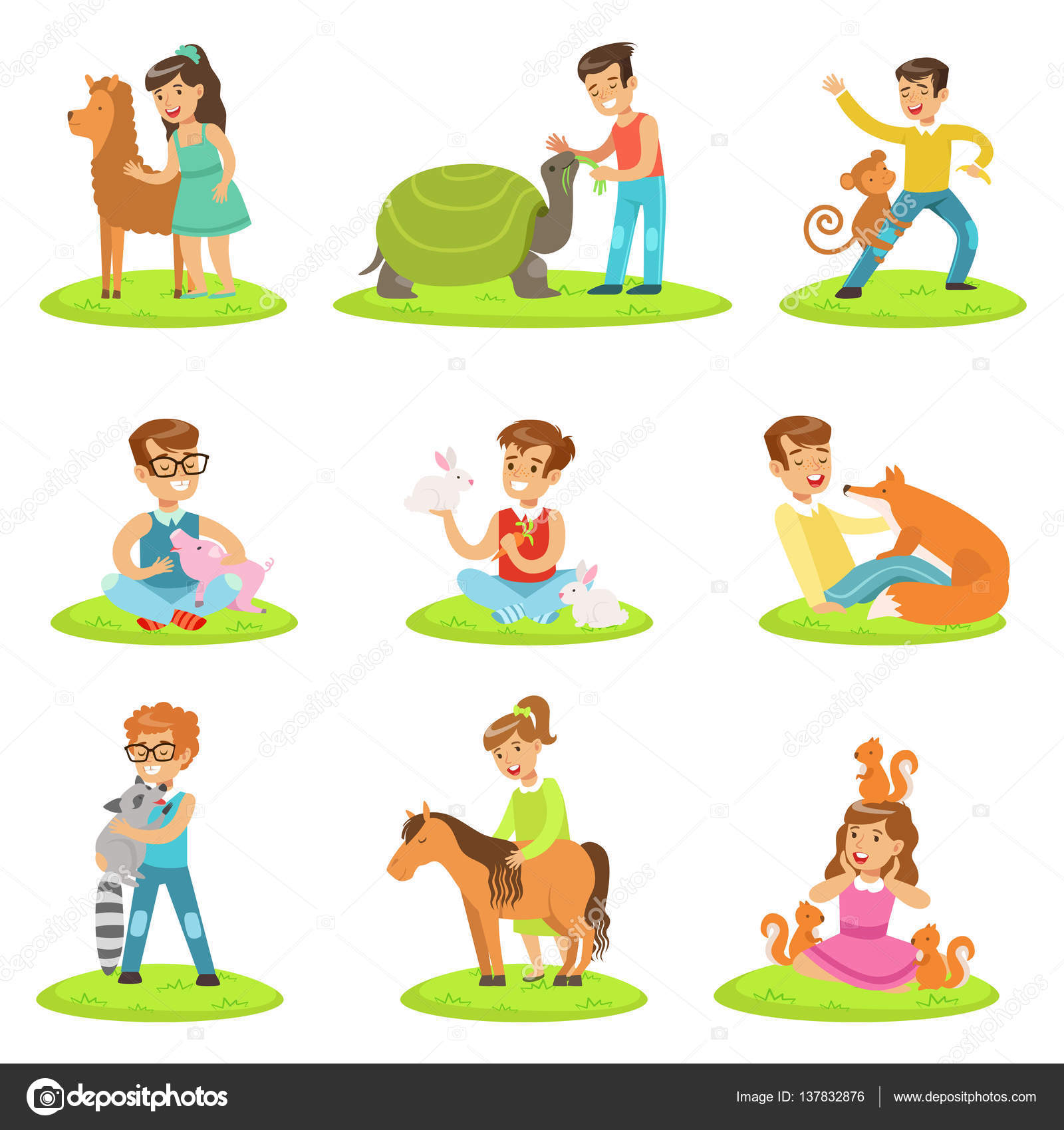Zoo clipart small animal Illustration Children Petting With Collection
