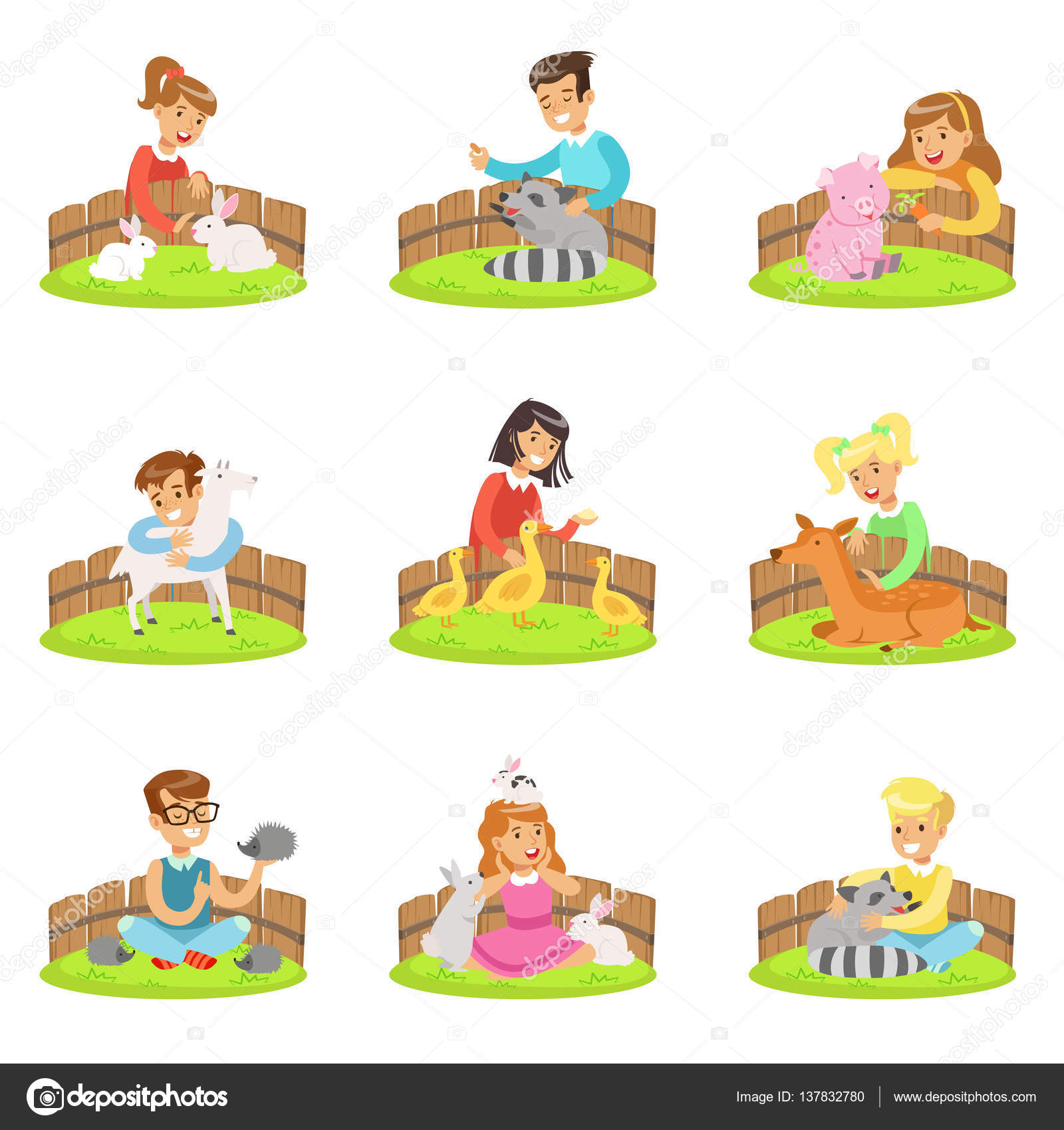 Zoo clipart small animal Illustration Children Petting With Set