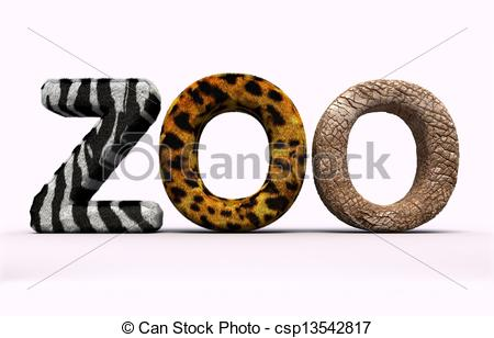 Zoo clipart the word Zoo Illustration Word with 3d