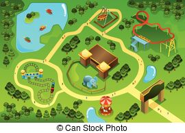 Zoo clipart zoo map Map park theme a of