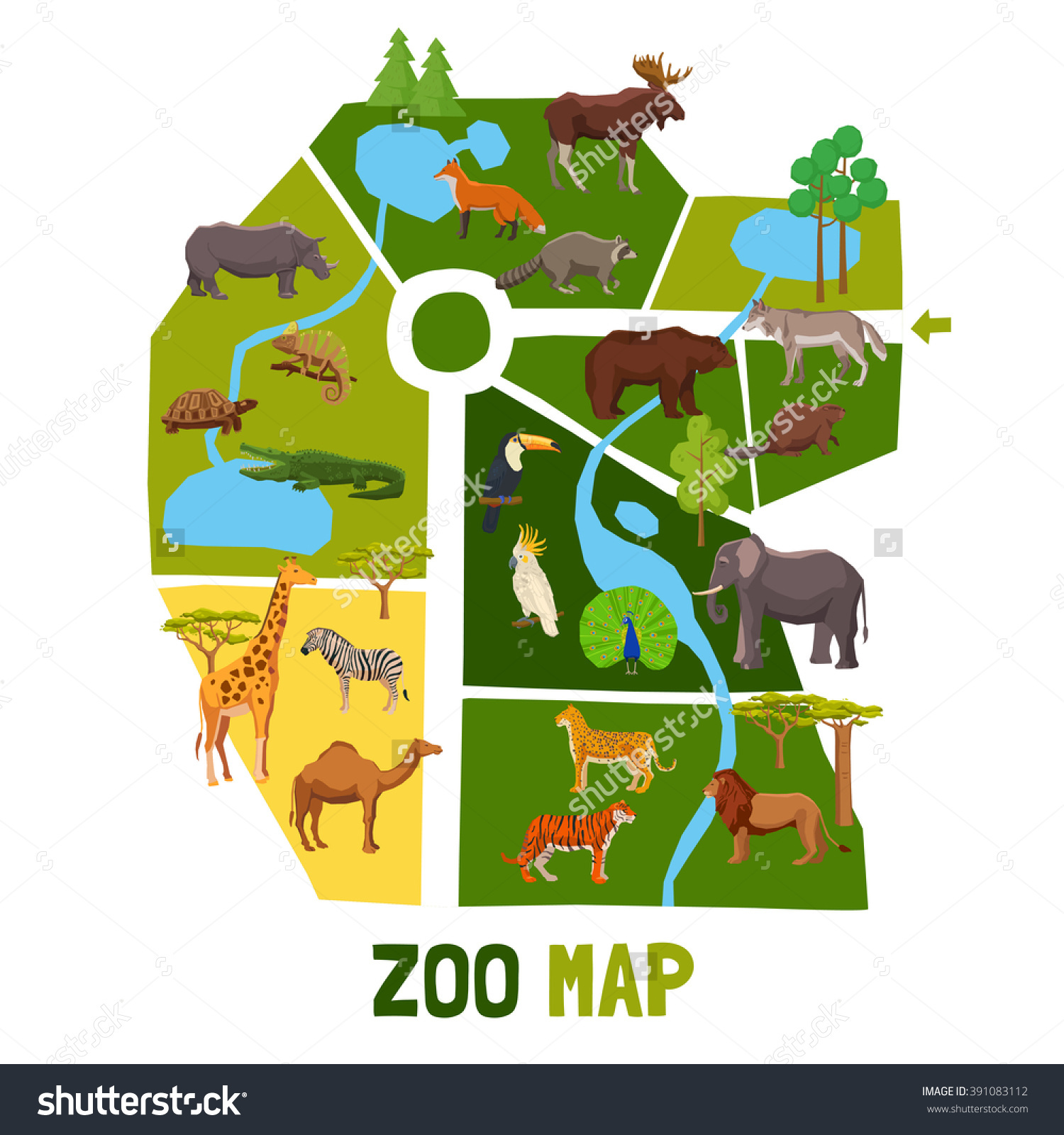 Zoo clipart zoo map Map and animals african birds