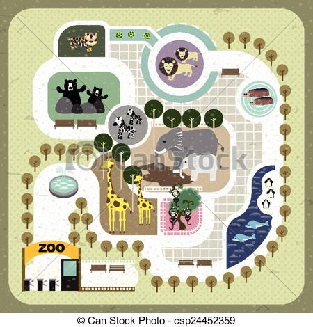 Zoo clipart zoo map Clipart map flat zoo map