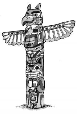 Drawn totem pole funny