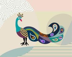 Drawn peacock