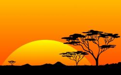 Savannah clipart africa sunset