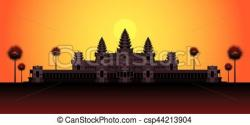 Angkor Wat clipart sunrise