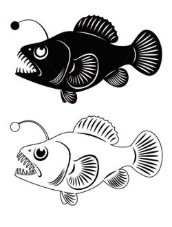 Anglerfish clipart black and white
