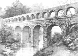 Drawn bridge roman aqueduct