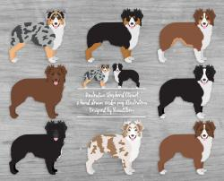 Rough Collie clipart red