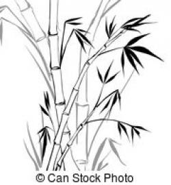 Bamboo clipart black and white