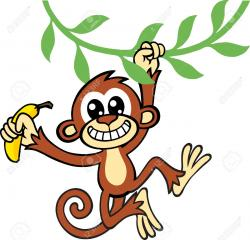 Chimpanzee clipart banana plant