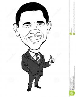 Drawn caricature barack obama