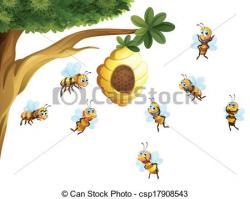 Bee Hive clipart tree drawing