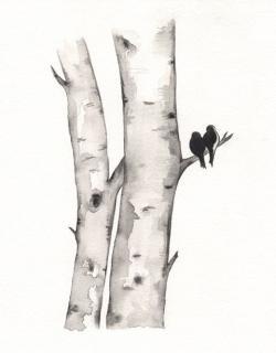 Drawn lovebird romantic love