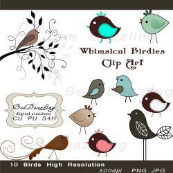 Digital clipart whimsical bird