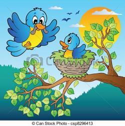 Bluebird clipart bird tree