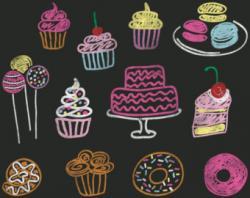 Cupcake clipart chalkboard