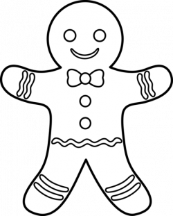 Gingerbread clipart black and white