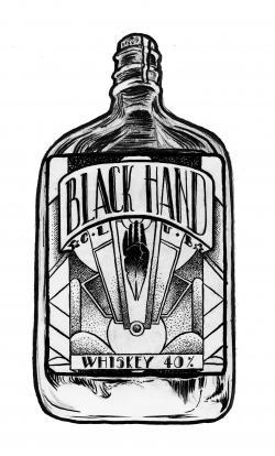 Drawn bottle whisky bottle