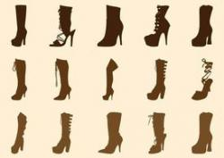 Drawn boots high heel
