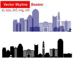 Skyline clipart boston city