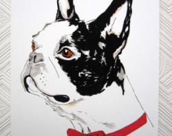 Boston Terrier clipart bow tie