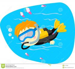 Child clipart diving