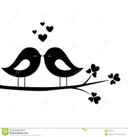 Drawn lovebird branch silhouette clip art