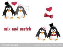 Wedding clipart penguin