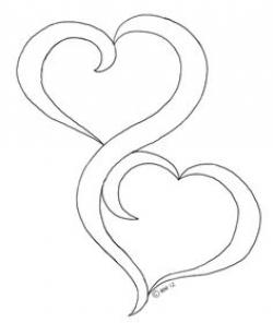 Drawn hearts together