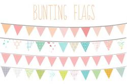Pastel clipart bunting flag