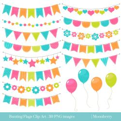 Neon clipart bunting