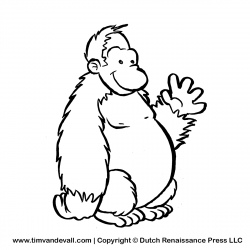 Orangutan clipart black and white