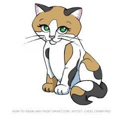 Drawn kitten calico cat