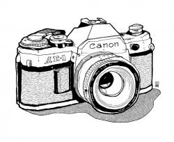 Drawn camera canon ae 1