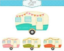 Caravan clipart vintage camper