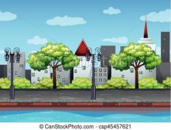 Canal clipart road scene
